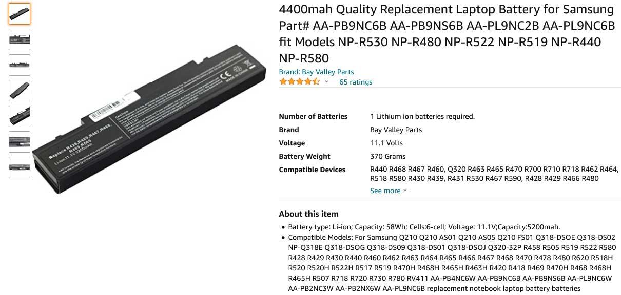 باتری لپ تاپ سامسونگ Samsung R468 R580 NP300 R60