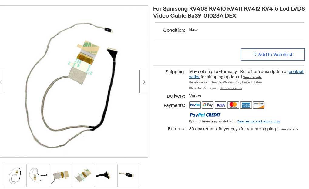 کابل فلت لپ تاپ سامسونگ Samsung RV408 RV410 RV411 RV412