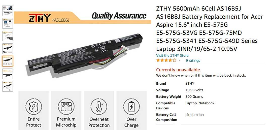 باتری لپ تاپ ایسر E5-575G F15 F5-573G AS16B8J