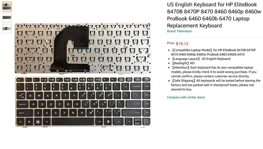 کیبورد لپ تاپ اچ پی EliteBook 8460p Pro 6460