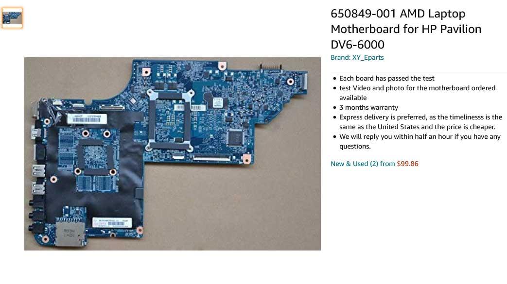 مادربرد لپ تاپ اچ پی HP Pavilion DV6-6000 AMD 665282-001