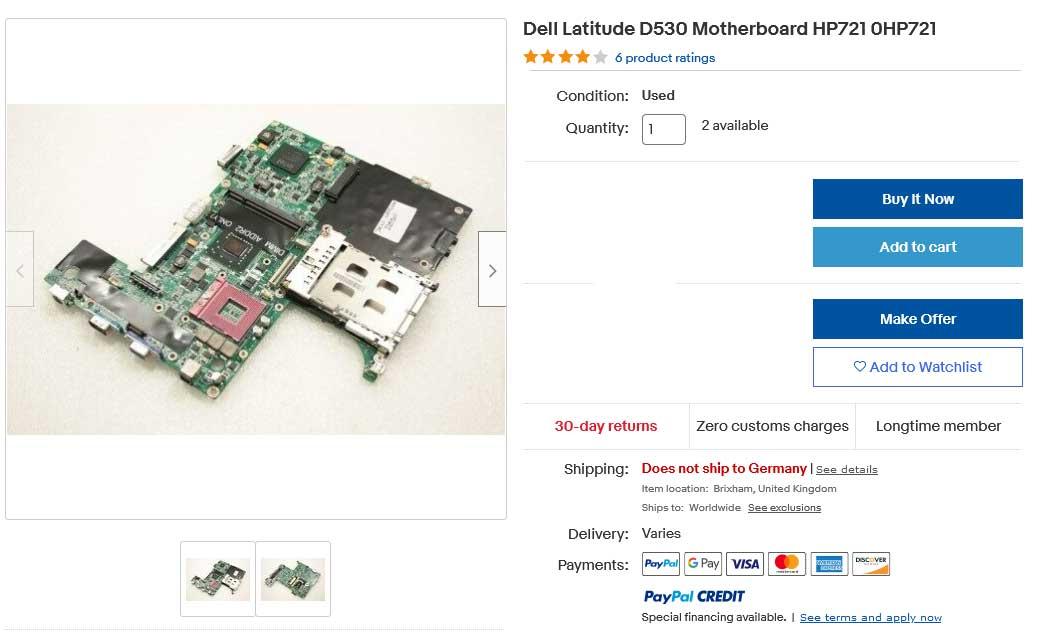 مادربرد لپ تاپ دل Latitude D530 S478 HP721 0HP721 Intel