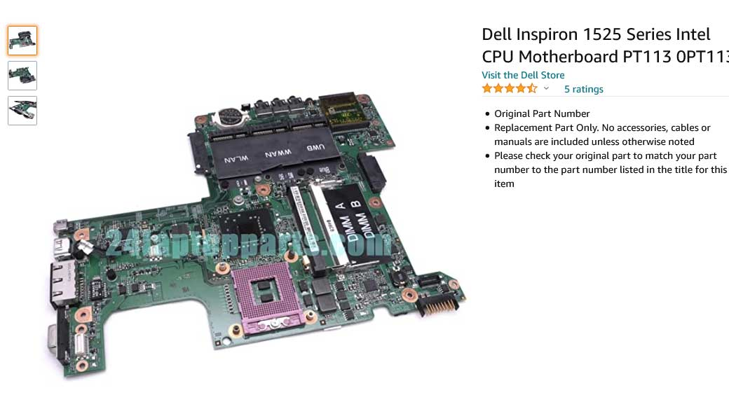 مادربرد لپ تاپ دل Inspiron 1525 CN-0PT113 0PP385 GM965 AMD