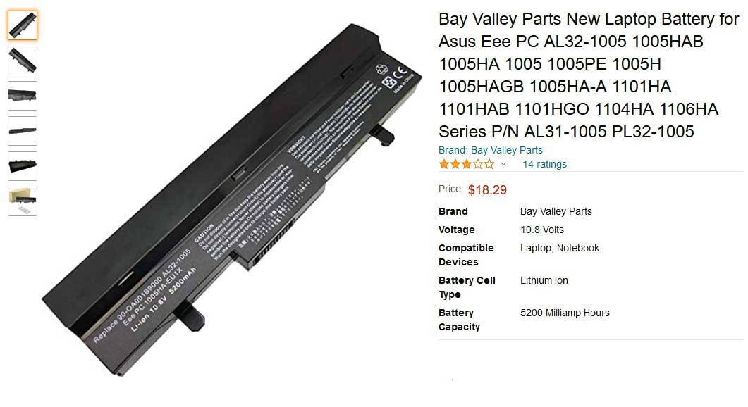 باتری لپ تاپ ایسوس EeePC AL32-1005 OA001B9000