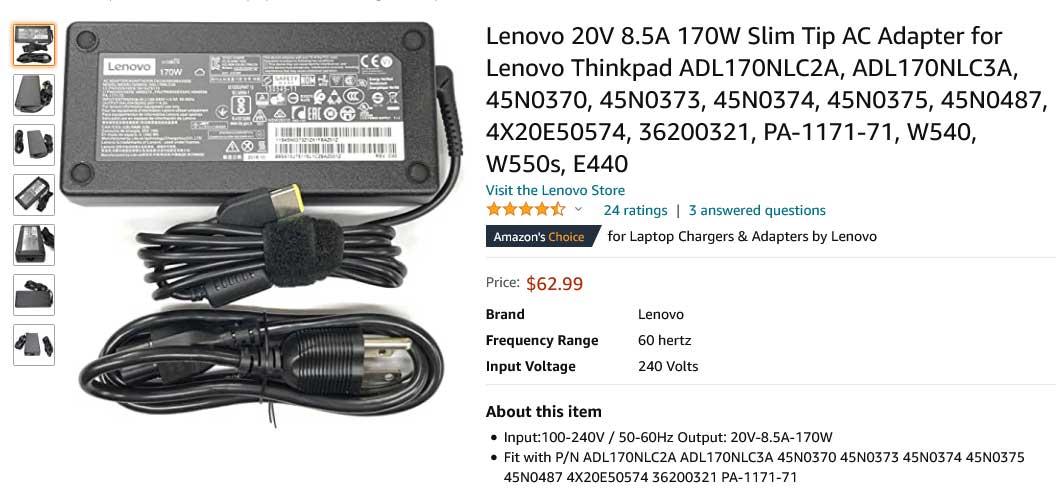 شارژر لپ تاپ لنوو 20 ولت 8.5 آمپر یو اس بی