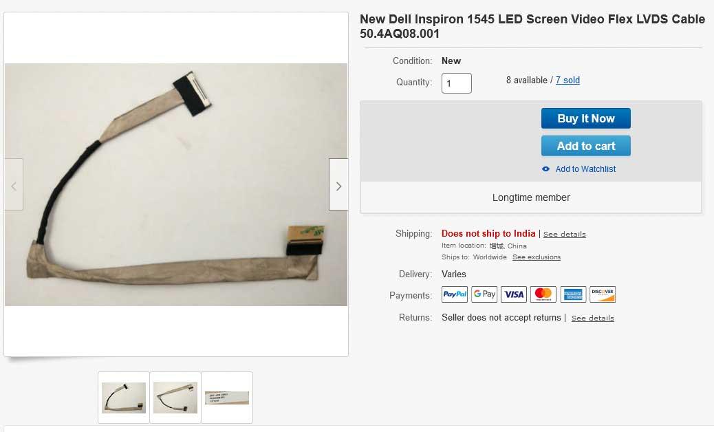 کابل فلت تصویر لپ تاپ دل Inspiron 1545 R267J CN-0R267J