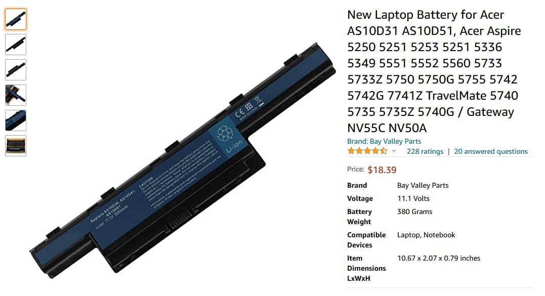 باتری لپ تاپ ایسر E1-571 4743Z 4750 AS10D41