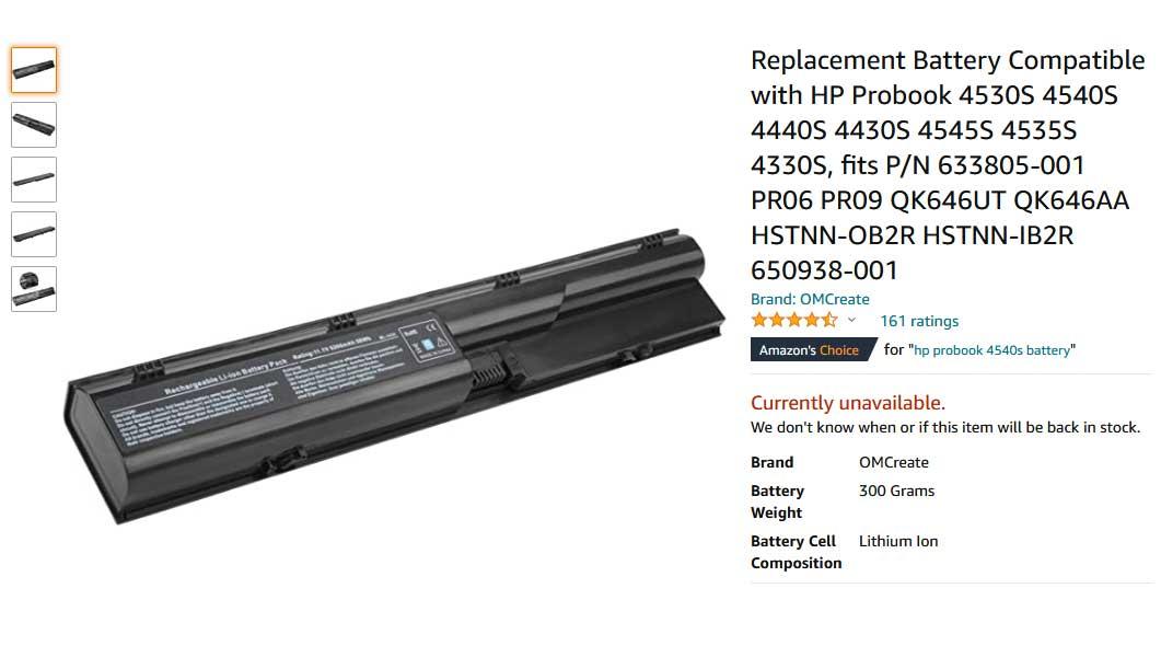 باتری لپ تاپ اچ پی Probook 4540s 4440s 4535s