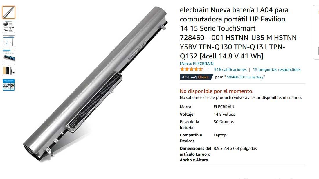 باتری لپتاپ اچ پی 15N 14N LA04 345 G1 Silver