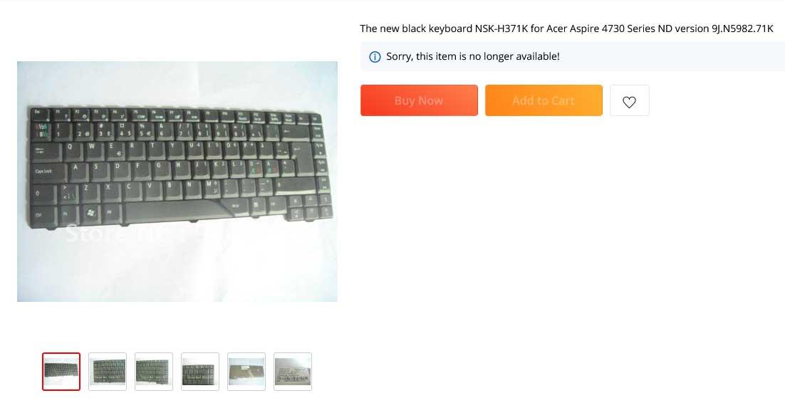 کیبورد لپ تاپ ایسر Aspire 4710 5520 5710 NSK-H371K 9J.N5982.71K