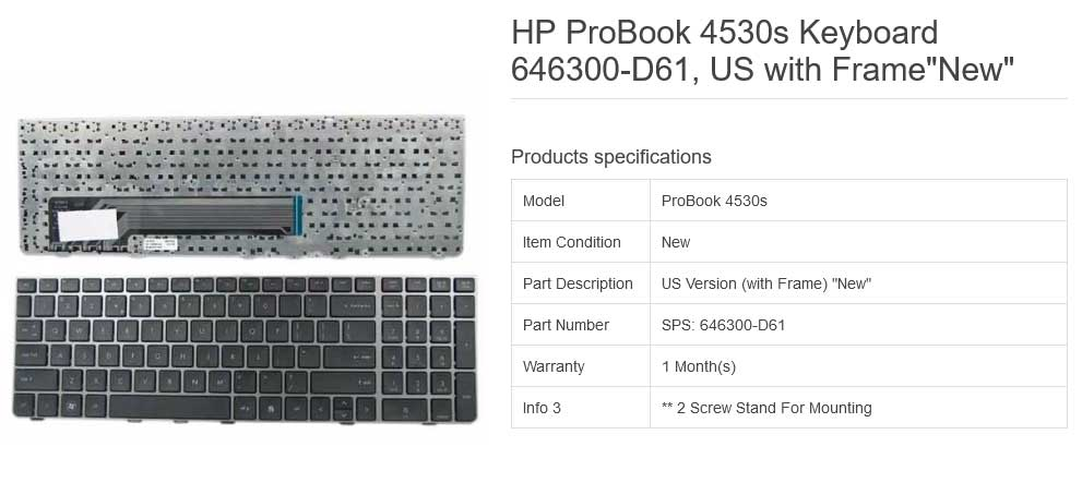کیبورد لپ تاپ اچ پی ProBook 4530 4535s 4730s مشکی با فريم نوک مدادی