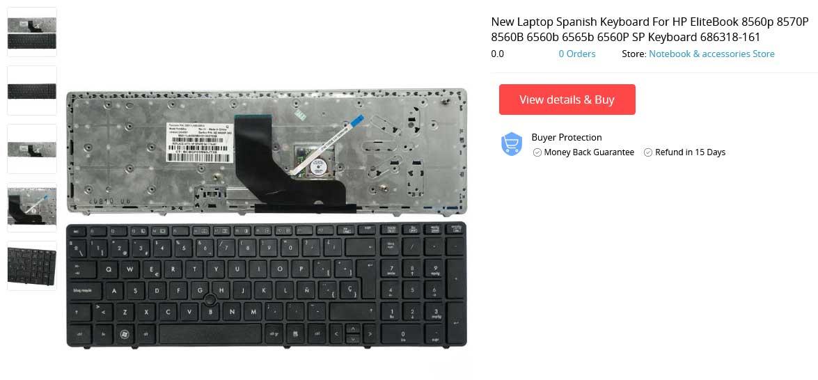 کیبورد لپ تاپ اچ پی Keyboard HP 8570P 8560P مشکی با فریم با موس