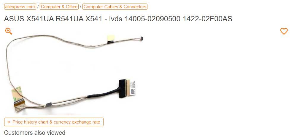 کابل فلت تصویر لپ تاپ ایسوس X541UV 14005-02090500 Flat Asus