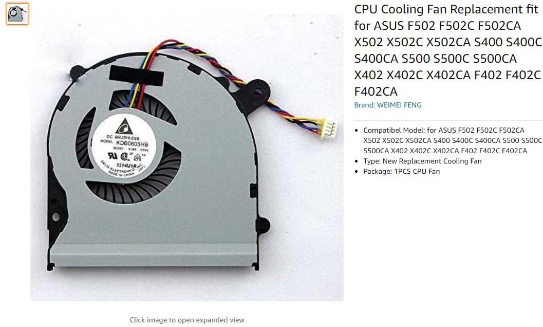 فن لپ تاپ ایسوس FAN ASUS S400 X402 X502 S500 F502 V500C