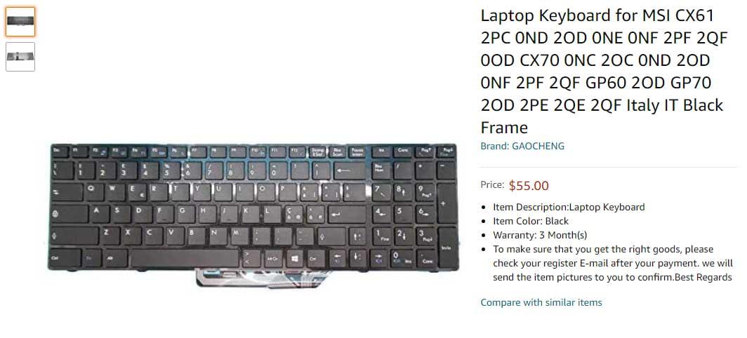 کیبورد لپ تاپ ام اس آی Keyboard MSI GE60 CX61 CR61 CX70