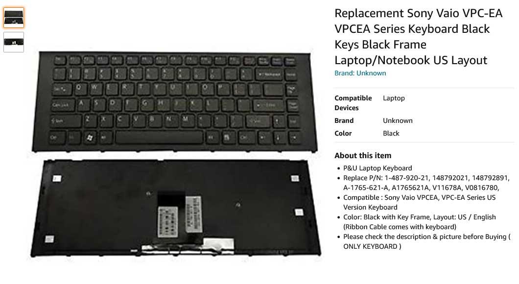 کیبورد لپ تاپ سونی Keyboard Laptop SONY Vaio VPC-EA VPCEA
